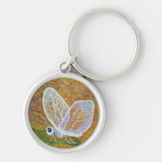 Butterfly Silver-Colored Round Keychain