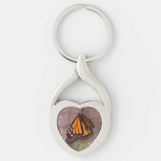 Butterfly Silver-Colored Twisted Heart Keychain