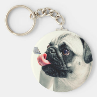 Butterfly Sitting on Pugs Tongue Basic Round Button Keychain