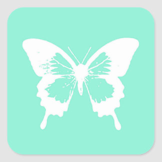 Butterfly sketch, aqua and white square sticker