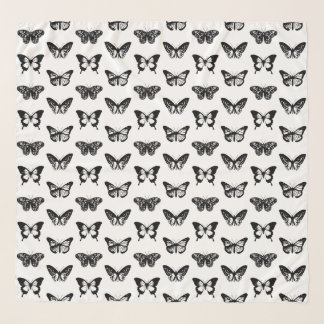 Butterfly sketch, black and white scarf