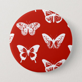 Butterfly sketch, deep red and white 3 inch round button