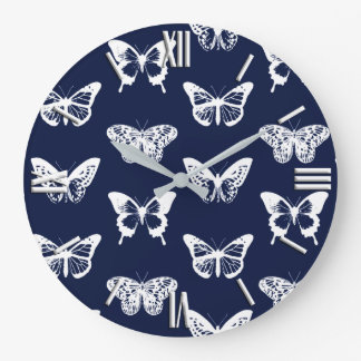 Butterfly sketch, navy blue and white large clock