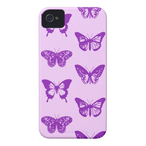 Butterfly sketch, orchid pink and violet iPhone 4 Case-Mate cases
