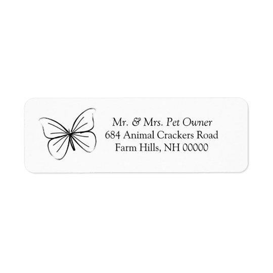 Butterfly Sketch Return Address Labels Stickers