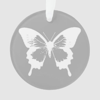 Butterfly sketch, silver grey and white