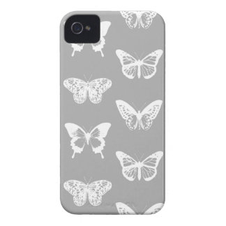 Butterfly sketch, silver grey and white Case-Mate iPhone 4 cases