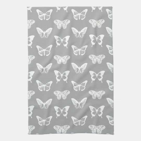 Butterfly sketch, silver grey and white kitchen towel