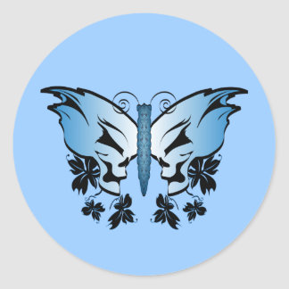 Butterfly Skull - Blue Classic Round Sticker
