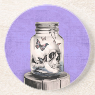 Butterfly skull in jar. Lost thoughts. Coaster