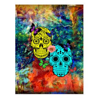 Butterfly skulls postcard
