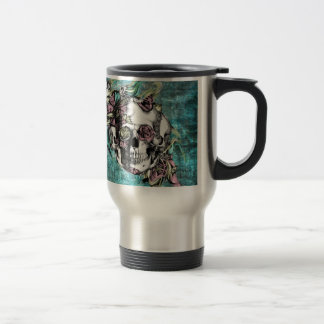 Butterfly smoke skull in blue pink and yellow. travel mug