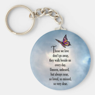 """Butterfly """"So Loved"""" Poem Basic Round Button Keychain"""