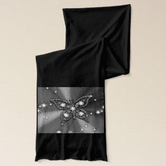 Butterfly Sparkle Black Jersey Scarf