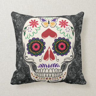 Butterfly Sugar Skull Day of the Dead Mexican Art Throw Pillow