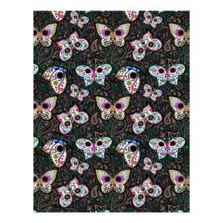 butterfly sugar skull scrapbook paper 8.5 x 11