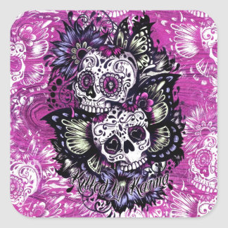 Butterfly sugar skulls on pink wood base. square sticker