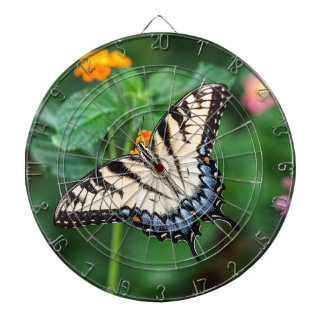 Butterfly Summer Flower Green Nature Floral Dartboard