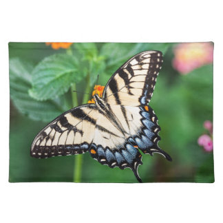 Butterfly Summer Flower Green Nature Floral Placemat