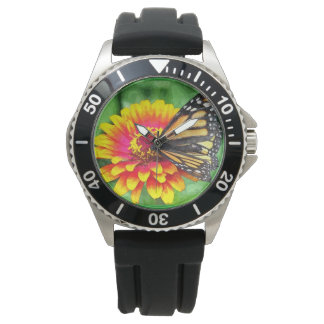 Butterfly Sunflower Stainless Steel Watch