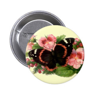 Butterfly & Sweet Pea Floral Garden Gifts Design 2 Inch Round Button