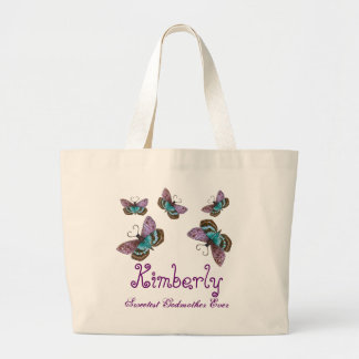 Butterfly Sweetest Godmother Ever Custom Name Gift Large Tote Bag