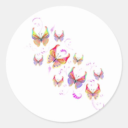 Butterfly Swirl Classic Round Sticker