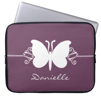 Butterfly Swirls Laptop Sleeve, Purple Laptop Sleeves