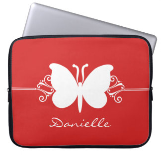 Butterfly Swirls Laptop Sleeve, Red Laptop Computer Sleeves