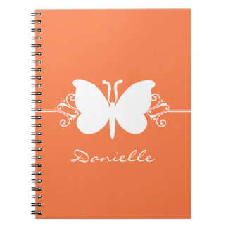 Butterfly Swirls Notebook, Orange Notebook