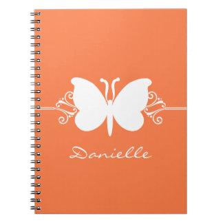 Butterfly Swirls Notebook, Orange Spiral Notebook