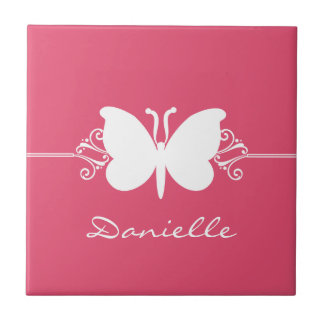 Butterfly Swirls Tile, Pink Tile