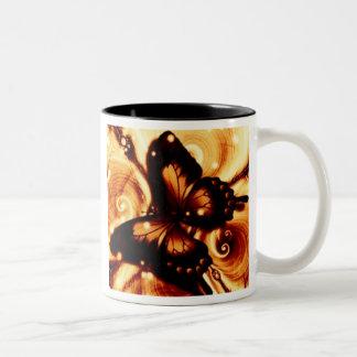 Butterfly Swirls Two-Tone Coffee Mug
