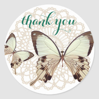 Butterfly Thank You Stickers Seals