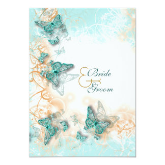 "Butterfly theme wedding aqua gold 5"" x 7"" invitation card"