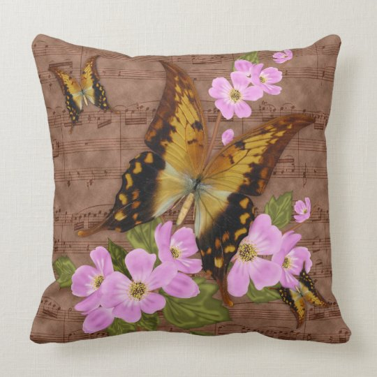 butterfly throw pillow in brown, with the waltz