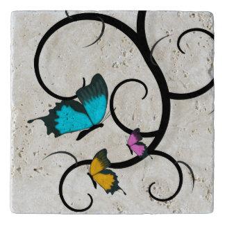 Butterfly Travertine Stone Trivet