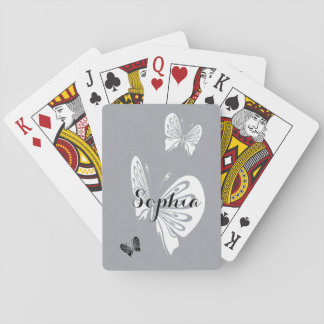 Butterfly Trio Monochrome with Name Playing Cards