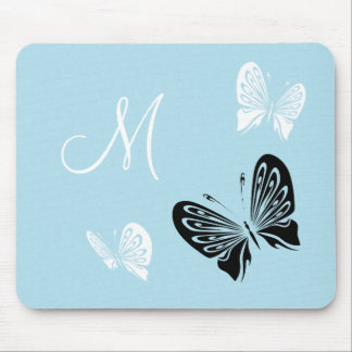 Butterfly Trio On Teal Monogram Mouse Pad
