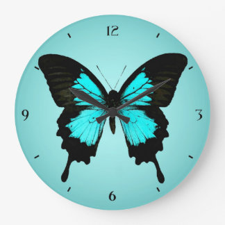 Butterfly - turquoise blue and black large clock