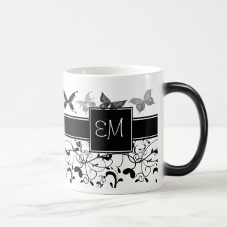 Butterfly Victorian Flourish Black White Magic Mug