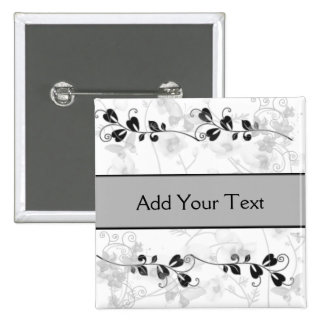 Butterfly Visions in Black and Grey 2 Inch Square Button