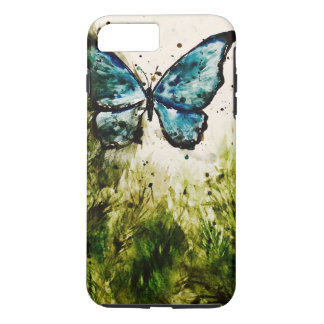 Butterfly Watercolor No. 1 - Blue Morpho & Foliage iPhone 8 Plus/7 Plus Case