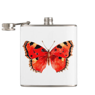 Butterfly Watercolor Red Butterfly Hip Flask