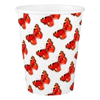 Butterfly Watercolor Red Butterfly Paper Cup