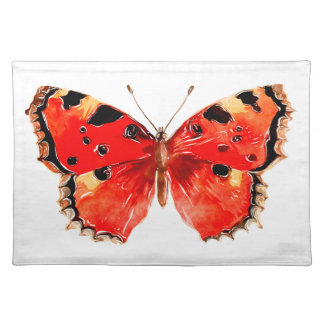 Butterfly Watercolor Red Butterfly Placemat
