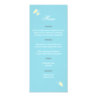Butterfly Wedding Menu 4x9.25 Paper Invitation Card