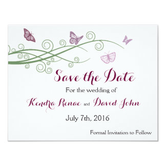 Butterfly Wedding Save the Date 4.25x5.5 Paper Invitation Card