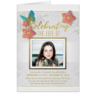 Butterfly White Gold Gray Memorial Service Invite