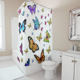 Butterfly white showercurtain